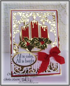 Our Daily Bread Designs, Perfect light stamp set, Christmas Candle die, Beautiful Borders die, Ovals die, Stitched Ovals die, Flourished Star Pattern die, Fancy Foliage die, created by Chris Olsen