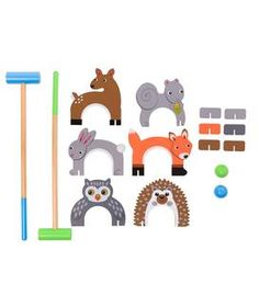 Woodland Animal Croquet Set for Kids - Outdoor Yard Games Includes 6 Wickets, 2 Mallets, 2 Balls, Instructions - Mallets Measure Long Woodland Critters, Woodland Theme, Woodland Animals, Outdoor Yard Games, Backyard Games, Custom Cornhole Boards, Cornhole Set, Swing Set Hardware, Wood Shop Projects