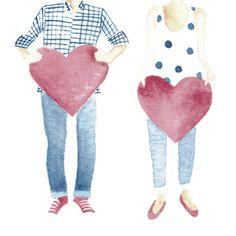 LOVE www.catajaramillo.com www.facebook.com/catajaramillographic #illustration #love #drawing #fashion #style #amor #heart #man #girl #clothes #watercolor #acuarela