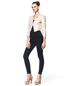 Luciana's Light Pink Cropped Collarless Metallic Jacket, available now at Macy's. #FashionStar