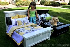 Cute new American Girl Doll Beds you can make in an afternoon from @_anawhite plans.