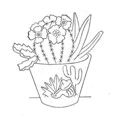 Vintage Hand Embroidery pattern from the 1960s. Charming Flower Pots & Flowers.