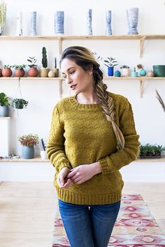 Powell is knit from the bottom up in pieces and then seamed. Once completed, the shoulders are joined with a 3-needle bind-off, and the sleeves and body are seamed.