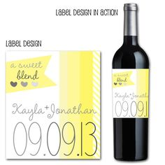 custom wine bottle labels, wedding wine labels, yellow and grey wedding, custom wedding decor, drink wraps, wine, weddings via party box design