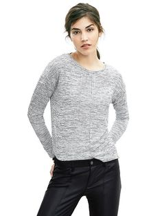 Slubbed Stripe Top (Dark Grey Heather) | BR (already own)