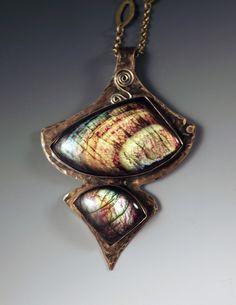 Labradorite Smokey Bronze Statement Pendant/Necklace by RedPaw Copper Jewelry, Stone Jewelry, Jewelry Art, Beaded Jewelry, Unique Jewelry, Handmade Jewelry, Jewelry Design, Labradorite, Necklace Designs