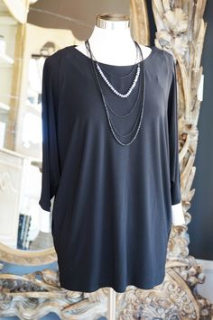 Frank Lyman Black Knit Tunic w/ White Trim Cuffs and Accented with Triple Strand Necklace (detachable)
