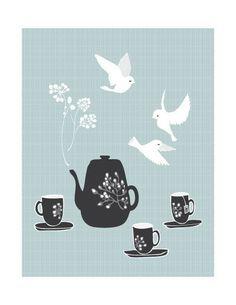Illustration Print of Birds Tea Pot and Tea Cups by yumiyumi, $20.00