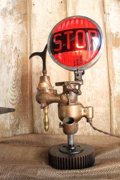 Vintage Industrial Style Stop Light Table Lamp, Night Light, Carburetor Light, Eclectic Lamp, Steampunk Lighting