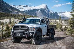 "AEV Prospector w/ 3"" AEV DualSport Suspension System, 17x10 AEV Katla wheels, 41"" Super Swamper IROK Radial tires, AEV High Mark Fender Flares, AEV Raised Air Intake System, @warnindustries 16.5 Winch, @arb4x4 Air Lockers and Ute Ltd. tray bed in Northwestern Canada #aev #aevram #turbodiesel #ram #dodge #mopar #diesel #overland #offroad #explore #adventure #prospector #madeintheusa #builtindetroit #provenworldwide #4x4 #america #usa #expedition #lifestyle #outdoors #ramfever #lift #lifted…"