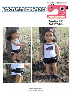 "Too Cute Ruched Shorts for 15-18"" Doll PDF Pattern by Cole's Corner and Creations via lilblueboo.com"