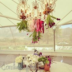 Something Different | Fleur Le Cordeur | VNL | ribbons chandeliers floral Ribbon Chandelier, Chandeliers, Ribbons, Wedding Flowers, Ceiling Lights, Wreaths, Floral, Home Decor, Transitional Chandeliers