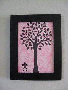 Framed Tree Drawing a flower black frame by CampbellsCreation