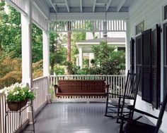 """rocking chairs and french window shutters... this could very well fit into my """"products I love"""" category or a new """"where I'd like to be"""" category"""