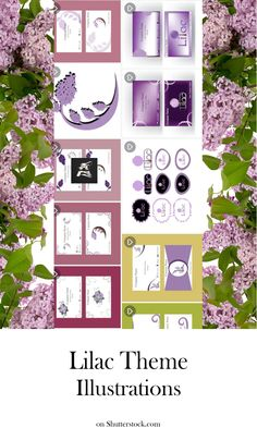 #vectorillustration Explore this beautiful lilac themed set! The illustrations are useful for: #greeting or #invitation cards, #businesscards #logo #template #vector #illustration #vectorart