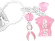 Pink T-Shirt Breast Cancer Awareness Key Chain & Pink Ribbon