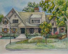 House Painting  Custom portrait of your home painted in watercolor with ink