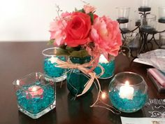 Teal and coral centerpiece idea