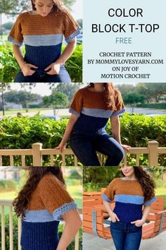 The Color Block T-top is a great woman's tee pattern using Lion Brand Jeans Yarn. Fall crochet top for women. Easy crochet top for her. Crochet Sweaters, Crochet Yarn, Crochet Clothes, Crochet Hooks, Crochet Top, Crochet Shrugs, Crochet Dresses, Crochet Blouse, Crochet Patterns For Beginners