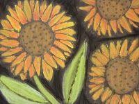 Wonderful Georgia O'Keffe flowers with pva and chalk pastels