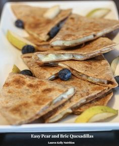 These Easy Pear and Brie Quesadillas take minutes to make and are only 70 calories per serving!
