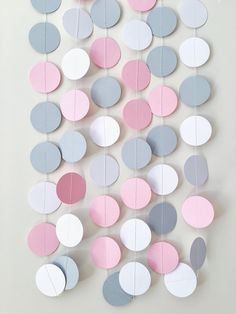 Excited to share the latest addition to my #etsy shop: Pink Gray Circle Paper Garland Elephant Baby Girl Shower Decor Birthday Wedding Decoration Party Photo Backdrop Pastel Nursery Decor
