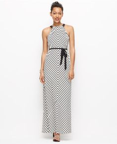 Thumbnail Image of Primary Image of Petite Mitered Stripe Halter Maxi Dress