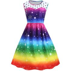 Plus Size Christmas Snowflake Rainbow Color Vintage Dress (61 BRL) ❤ liked on Polyvore featuring dresses, rainbow dresses, plus size christmas dresses, vintage christmas dress, womens plus dresses and christmas day dress