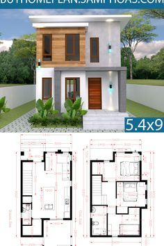 Architecture House Small Small Home design Plan with 3 Bedroom - SamPhoas Plansearch 2 Storey House Design, Duplex House Design, Duplex House Plans, Simple House Design, House Front Design, Bedroom House Plans, Tiny House Design, Small House Plans, Modern House Design