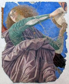 Melozzo da Forli, c.1438-1494, Italian, Angel with Tambourine, 1480-84. Fresco. Pinacoteca, Vatican. Early Renaissance.