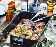 NADIA LIM: Wine-braised chicken, grapes, capers, lemon and parsley Barbecued Lamb, Braised Chicken Thighs, Lamb Meatballs, Honey Chicken, Chicken Wine, Lemon Recipes, Kiwi Recipes, Diabetic Recipes, Lunch Recipes