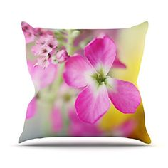 KESS InHouse BE1053AOP03 18 x 18-Inch 'Beth Engel Lucky One Floral Photography' Outdoor Throw Cushion - Multi-Colour