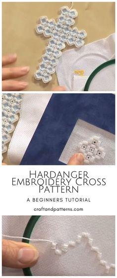 Hardanger Embroidery Cross Bookmark - Craft & Patterns Hardanger Embroidery, Hand Embroidery Stitches, Embroidery Patterns, Bookmark Craft, Sewing Crafts, Diy Crafts, Simple Cross Stitch, Cross Patterns, Satin Stitch