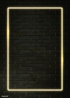 Rectangle yellow neon frame on a black brick wall Brick Wall Wallpaper, Framed Wallpaper, Neon Wallpaper, Aesthetic Iphone Wallpaper, Screen Wallpaper, Wallpaper Backgrounds, Phone Wallpapers, Instagram Background, Instagram Frame