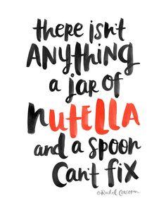 NUTELLA Poster - Typographic Print - Hand Lettering - Girls Night In - Cozy - Treat Yo Self - Chocolate - Dorm Decor - Inspirational Art