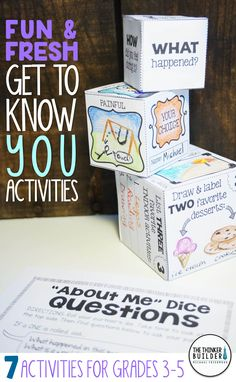 "Fun and fresh get-to-know-you activities for the beginning of the year, including build-your-own ""About Me"" dice, an easy to make class ""Time Capsule,"" a ""Truth, Twist, or Total Fake!"" writing activity, and more! 7 total activities, perfect for back-to-school! Gr. 3-5 ($). Click the image for details, or see the bundle of BOTH my Get-to-Know-You Activity Packs here: https://www.teacherspayteachers.com/Product/Back-to-School-Activities-Get-To-Know-You-BUNDLE-2-Packs-1984515"