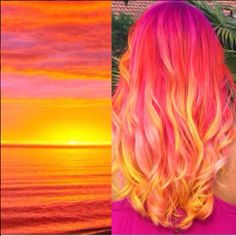 Hair color bright sunset hair Lawn Furniture If you love being outdoors, you should pick lawn furnit Sunset Hair, Purple Sunset, Sunset Colors, Dye My Hair, Mermaid Hair, Rainbow Hair, Rainbow Sherbet, Cool Hair Color, Crazy Hair Colour