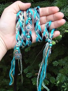 Wedding Handfasting Cord Silver and Turquoise by Pixadoodles >> I like the way that charm is beaded and tied into the cord
