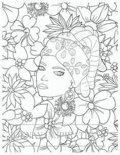 Adult Coloring Book, Printable Coloring Pages, Coloring Pages, Coloring Book for Adults, Instant Download, Faces of the World 1 page 9