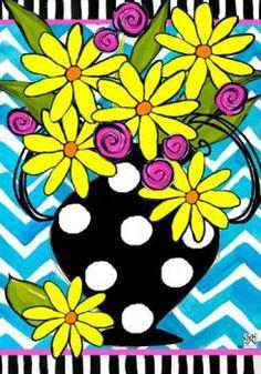 Custom Decor Flag - Striped Yellow Daisies