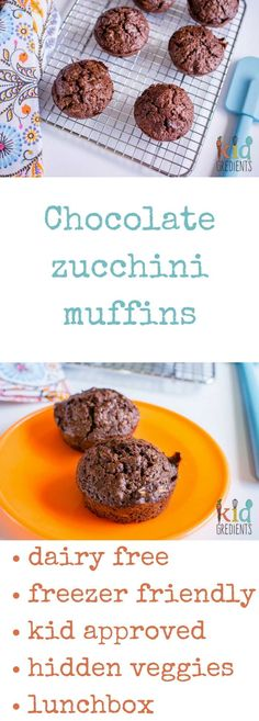 Hidden veggies! Freezer friendly, with zucchini and yummy cacao...you can almost pretend they are chocolate! Dairy free and so very yummy, this easy to bake recipe will become a family favourite. Best ever chocolate zucchini muffins. via @kidgredients