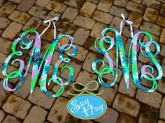 """Set of 2 preppy 24"""" Interlocking Wooden Initials Monogram Cutout Hand Painted inspired by Lilly Pulitzer prints, bedding, dorm rooms"""