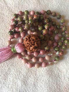 Mala Necklace, 108 Mala Beads, Rhodonite and Unakite, Emotional Healing, Yoga Meditation Mala, Buddhist Mala Beads, Prayer Beads,