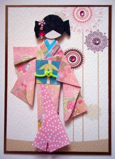 ATC1312 - Akiko | ATC with hand-folded Japanese origami paper doll. Background (design print from GraphicStock).