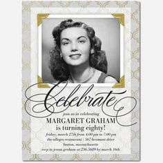 The Best Birthday Invitations—by a Professional Party Planner turning 80 custom photo invitation Grandpa Birthday Gifts, Mom Birthday Crafts, 90th Birthday Gifts, Birthday Gift Baskets, Birthday Party Themes, Birthday Ideas, 75th Birthday Invitations, 50th Birthday Quotes, Photo Invitations