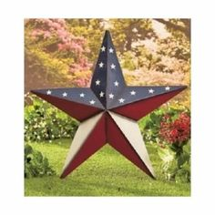 "Americana Patriotic Star Barn Wall Decor 24"" Large Indoor Outdoor Metal Stakes"