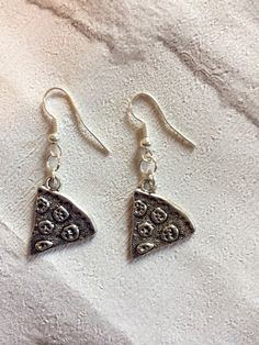 Pizza Slice Earrings Silver Pizza Earrings Food by peppiandboo