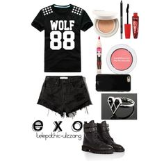 EXO by telepathic-ulzzang on Polyvore featuring polyvore, fashion, style, Abercrombie & Fitch, Golden Goose, Sonix, Bare Escentuals, Urban Decay, Rimmel and peripera