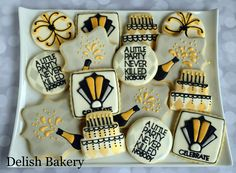 Great Gatsby party themed cookies. Gatsby Cookies, Fancy Cookies, Cut Out Cookies, Royal Icing Cookies, End Of Year Party, New Years Party, Cookie Designs, Cookie Ideas, New Years Cookies