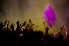 Holi celebrations, Banke Bihari Temple, Vrindavan, India. (Majid Saeedi/Getty Images)